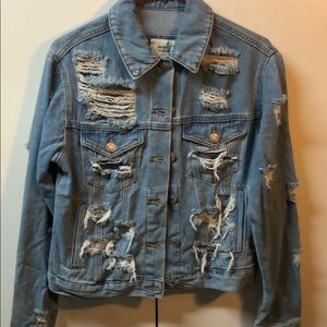 Forever 21 distressed jeans jacket